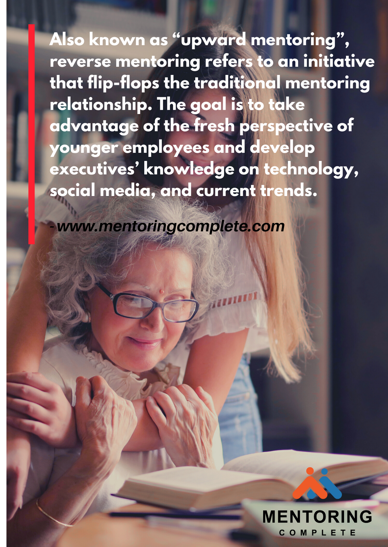 """Also known as """"upward mentoring"""", reverse mentoring refers to an initiative that flip-flops the traditional mentoring relationship. The goal is to take advantage of the fresh perspective of younger employees and deve"""