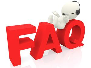 3D customer support operator of FAQ - isolated over white